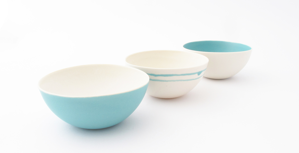 Small Aqua Seasalt Bowls