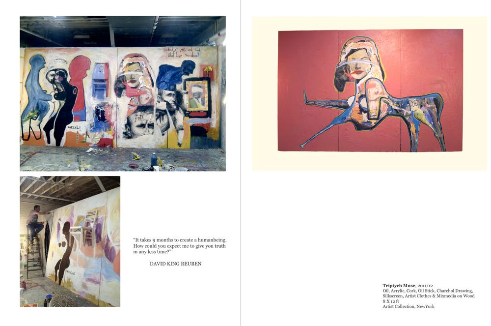 Working In Greenwich Village Studio -Triptych Muse