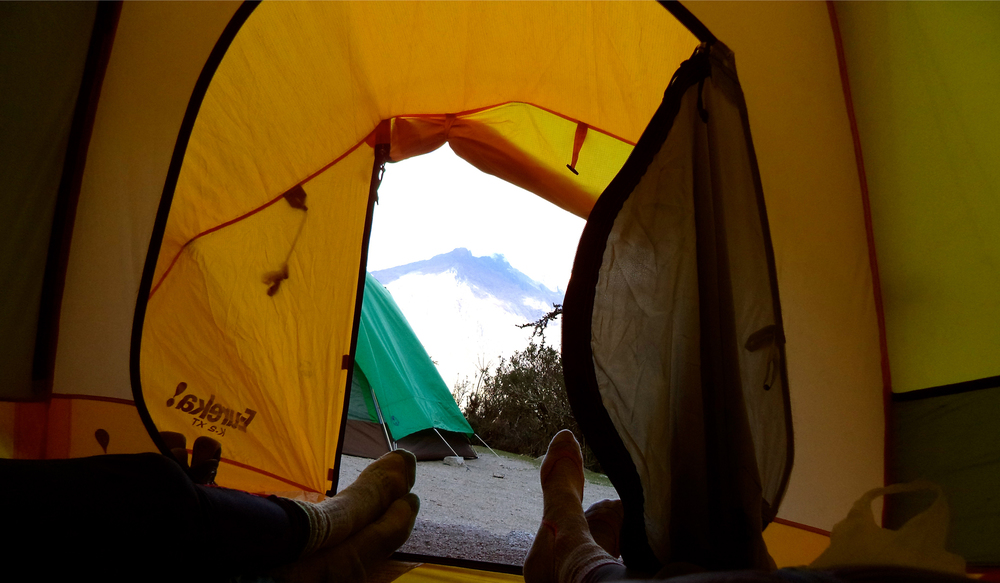 Allison and I kicking back and enjoying a view of Nevado Veronica at the Llullucha Pampa camp on the Inca Trail