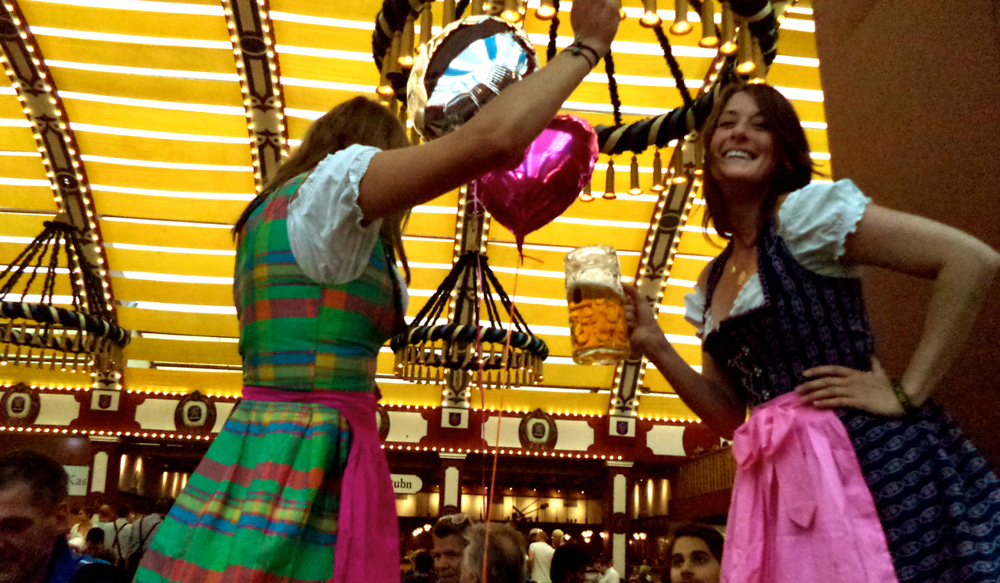 Allison and I rocking out in our dirndls in the Löwenbräu tent at Oktoberfest in Munich, Germany.