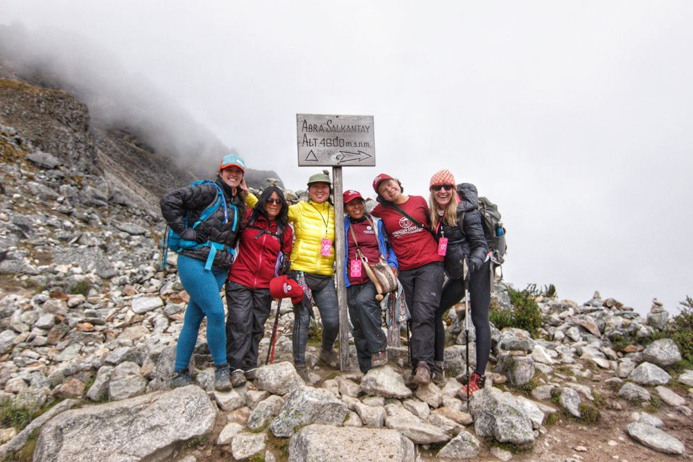 WHOA & Mountain Gods Peru family photo at Salkantay Pass. So much team love!
