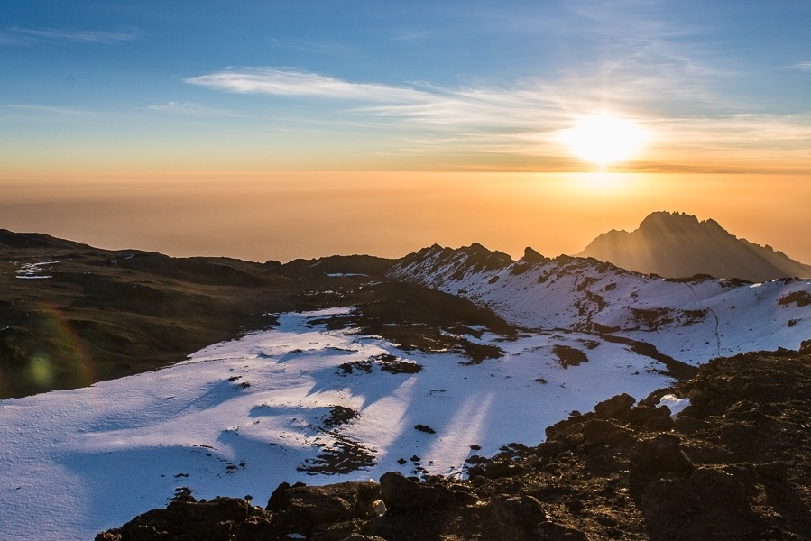 DAY 7:SUMMIT SISTERS! - KIBO HUT to UHURU PEAK to HOROMBO HUTElevation: 4,700 - 5,895 - 3,700 mHiking Time: ~8 hrs ascent / ~7 decentDistance: 6 km ascent / 15 decent