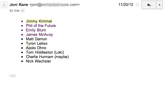 "Email from my mom about her ""Dream Team"" November 20, 2012."