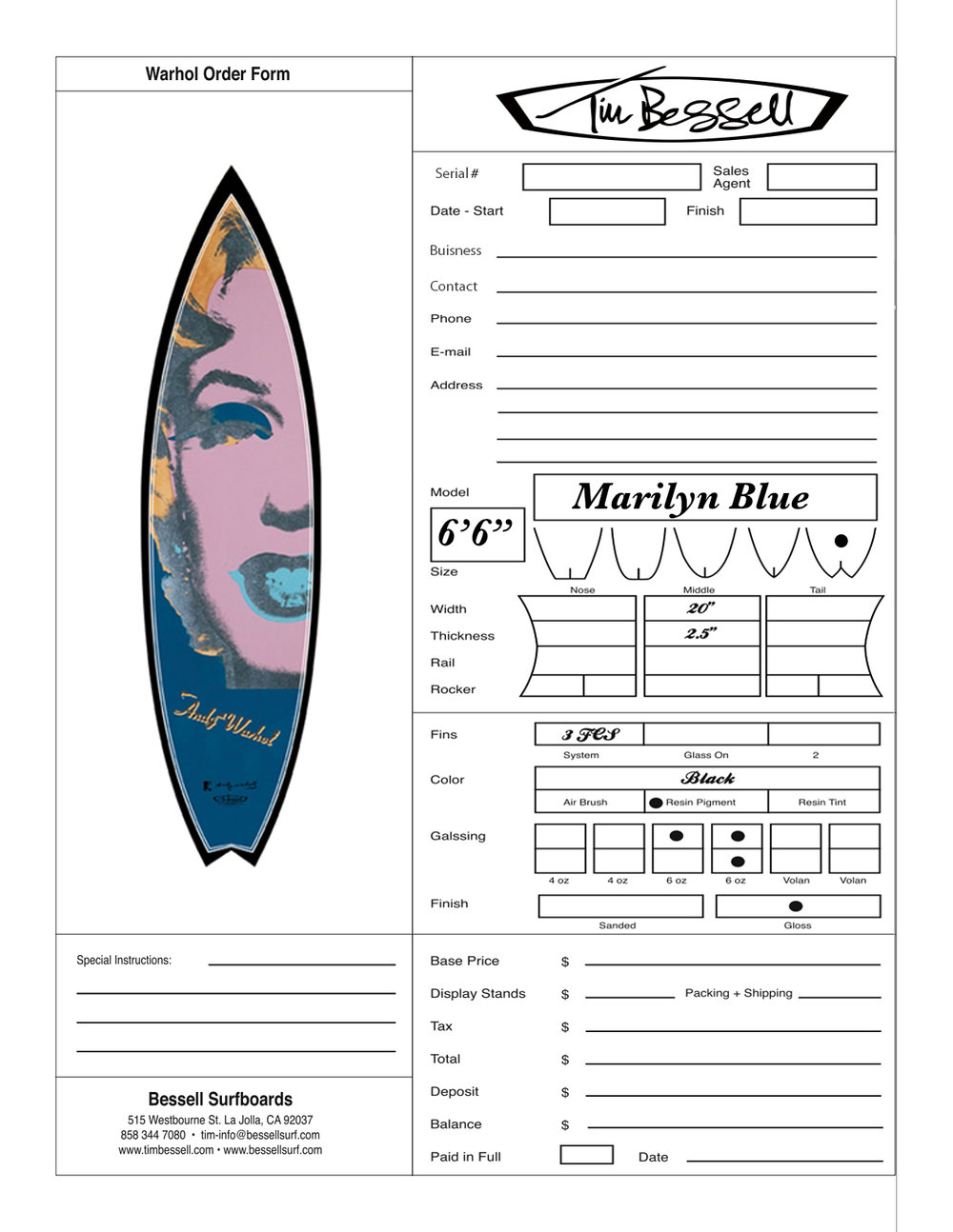"Click Here For ""Marilyn Blue (Black)"" Order Form"