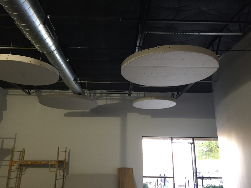 This is our break room area... these big circles will have lights on them.