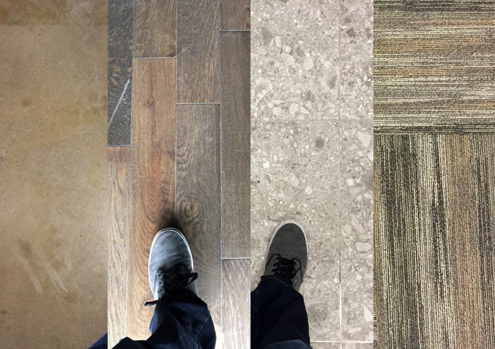 Our floors: Stained Concrete, Wood, Ceramic Tile, and Carpet... just your basics.