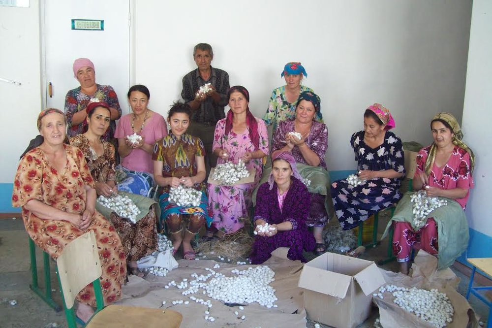 Pictured above are the talented weavers who made the velvet for our Velvet Slippers!  Each collection is limited edition.