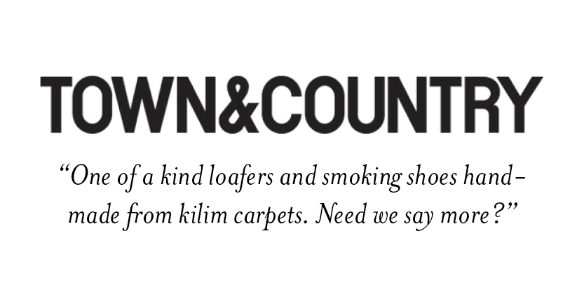 town & country  one of a kind loafers and smoking shoes handmade from kilim carpets. need we say more?