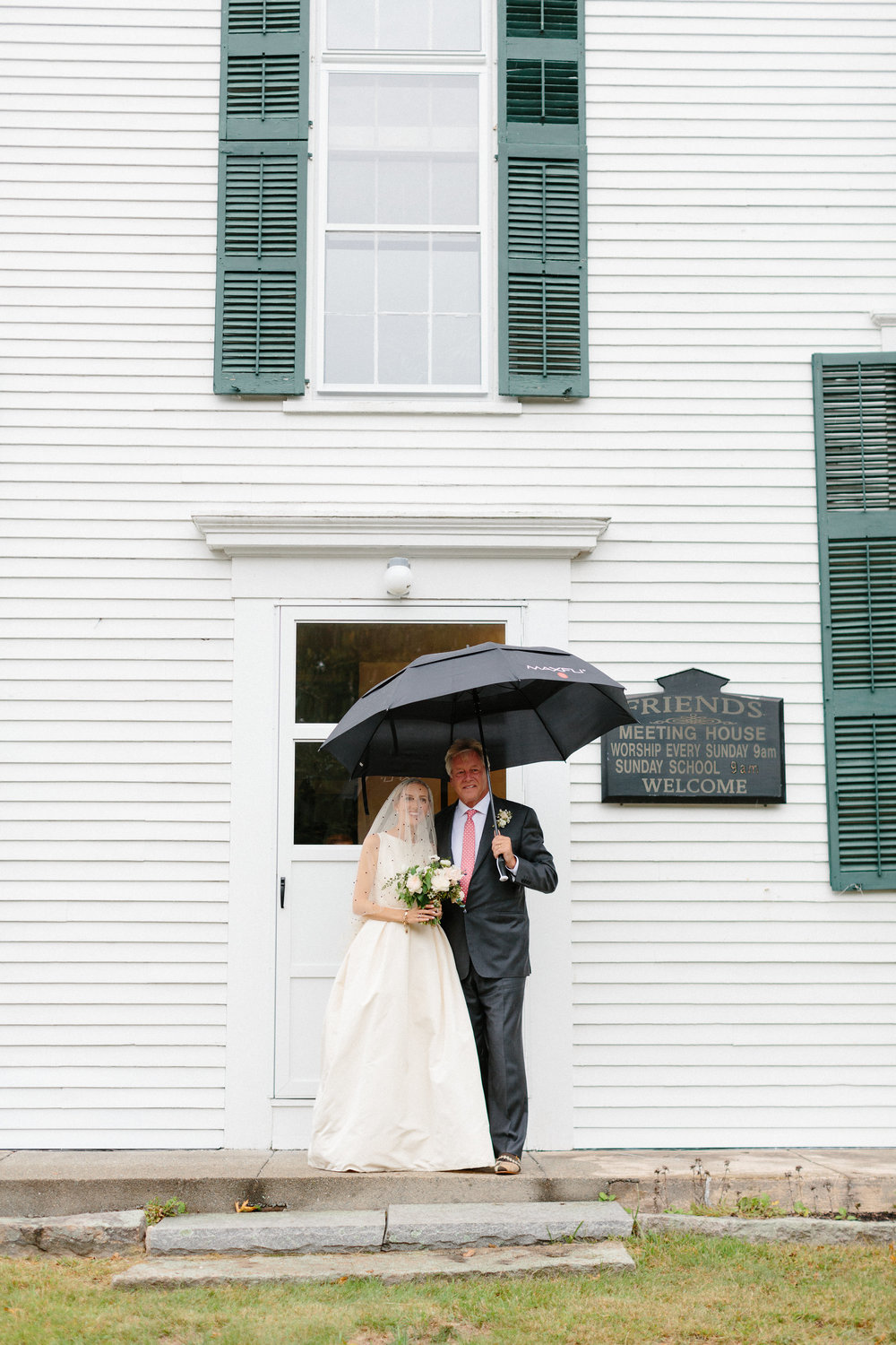 - It started raining right as we were leaving for the church so we had to resort to our rain plan. Luckily my father was prepared with the largest umbrella on the planet! I worried about rain all week, but when it actually happened, I couldn't have cared less.