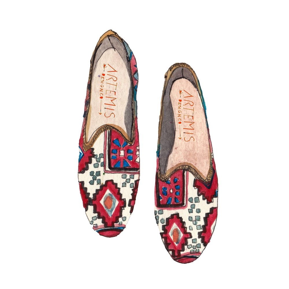 Women's Kilim Shoe illustration by Pauline