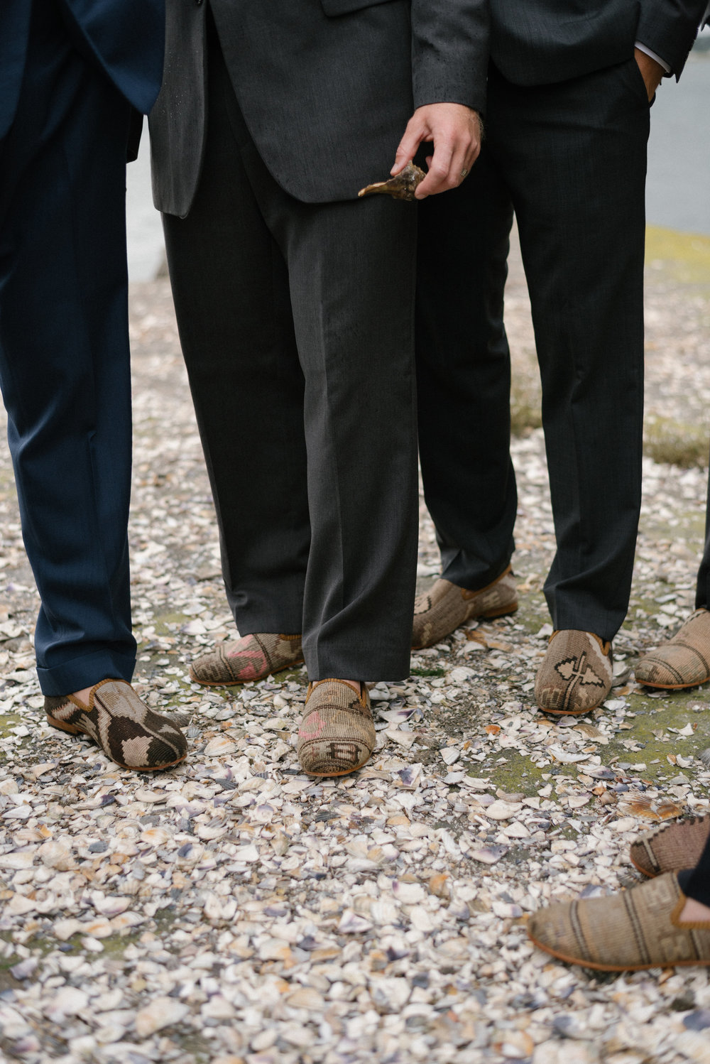 My husband and his groomsmen were dance floor ready in their  Men's Kilim Smoking Shoes .