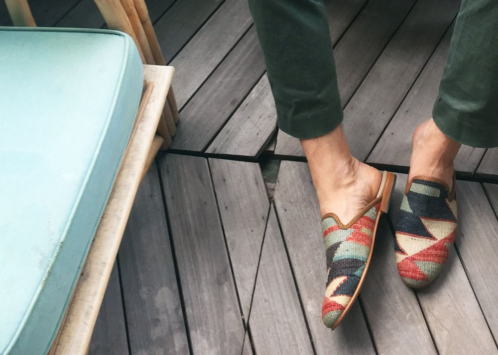 """Artemis makes seriously cool slippers out of vintage Turkish rugs.""   -Nick Carvell, Editor for British GQ"