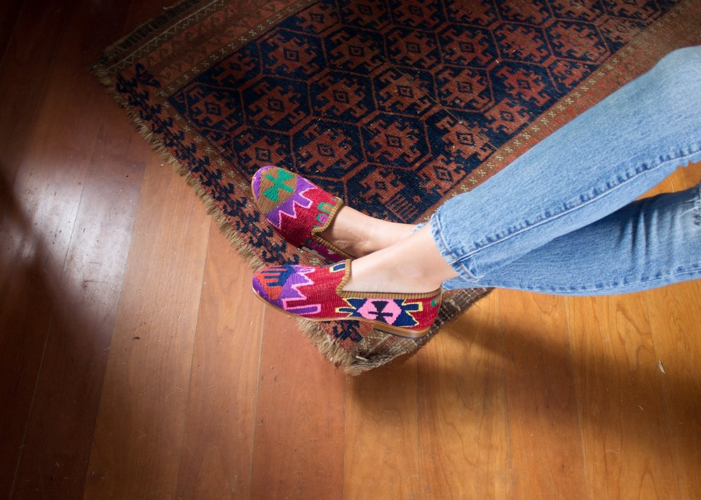 """I cannot go anywhere in New York without being stopped and complimented on my Kilim Smoking Shoes""   -Roxana Mead"