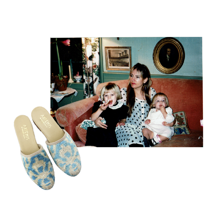 Milicent's mom holding her and her sister. Carson Velvet Slides Kilim Shoes.