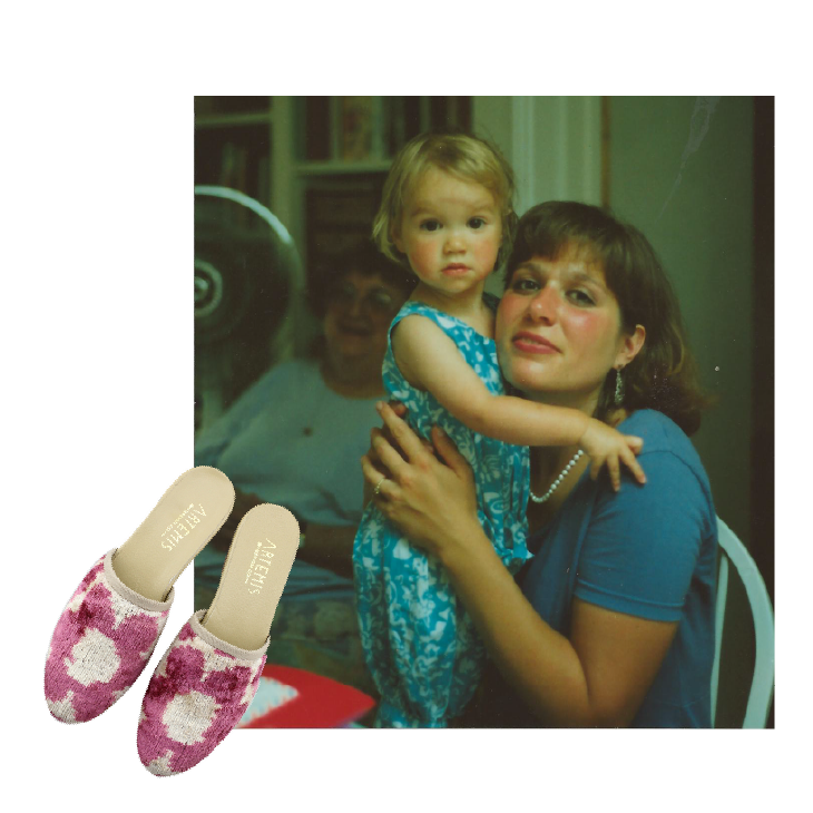 Lena's mom holding her. Primrose Velvet Slide Kilim Shoes.