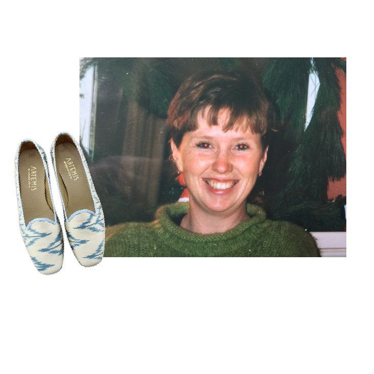 Alexandra's mom smiling in a green sweater. Jane Silk Loafer Kilim Shoes.