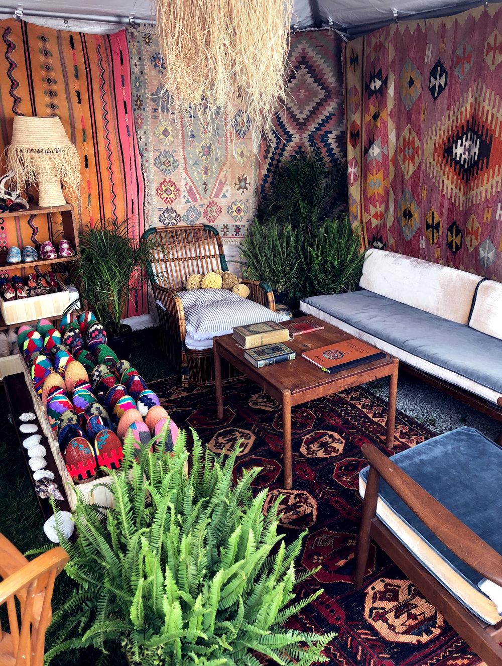 The Artemis Design Co. tent filled with Kilim Shoes.