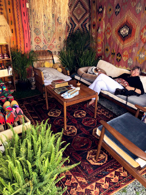 Kai taking a nap surrounded by Kilim Shoes.