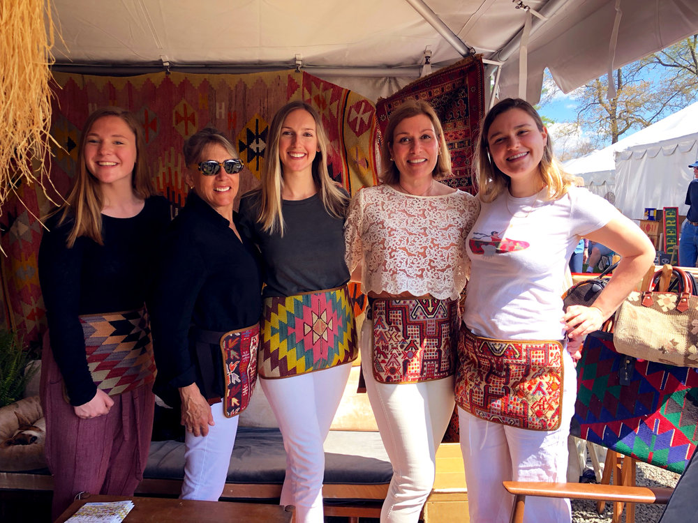our team in Kilim Aprons and Kilim Shoes