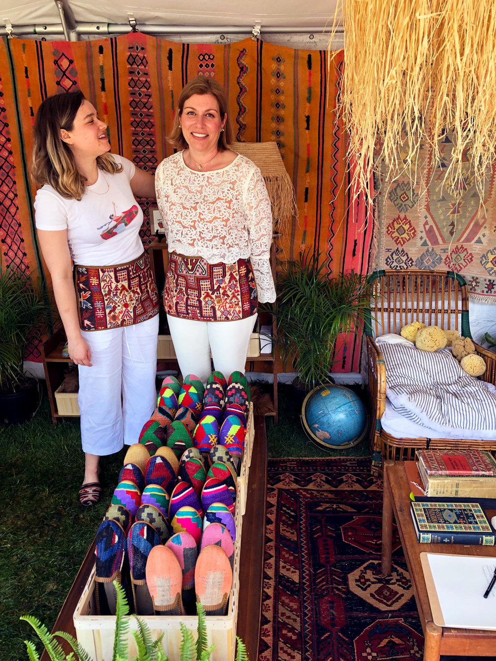 Lena and Mary wearing Kilim Shoes and Kilim Aprons.