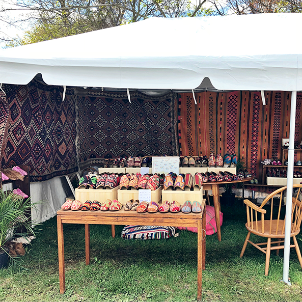 The left side of our tent filled with Kilim Shoes.