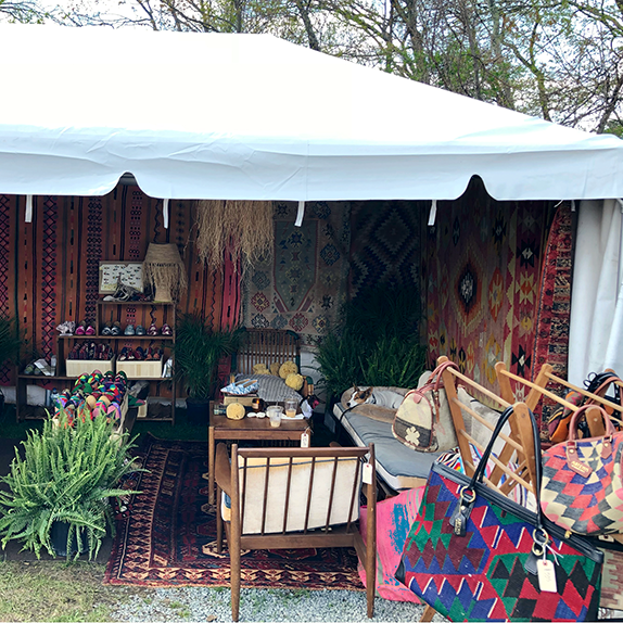 The right side of our tent filled with Kilim Shoes.