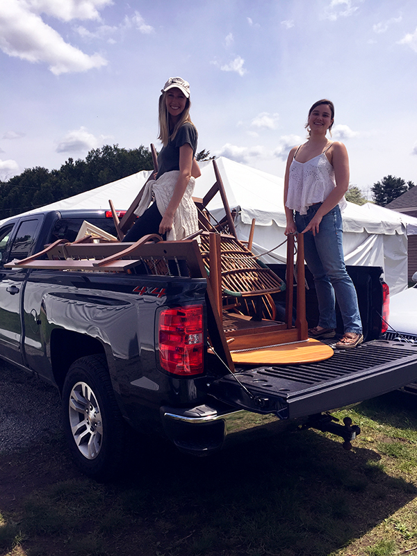 Milicent and lena unloading the truck in their Kilim Shoes