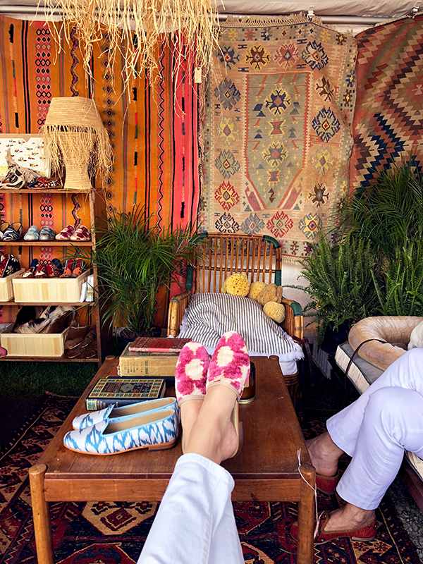 Sitting in our tent in Kilim shoes.