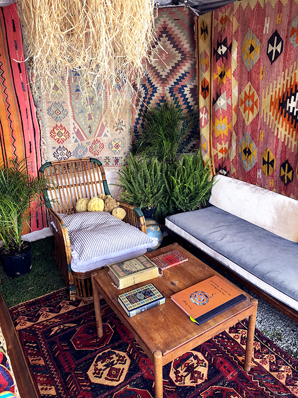 Interior details of tent filled with Kilim shoes.