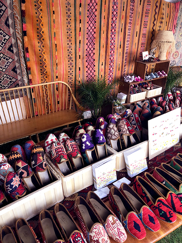 Our tent filled with Kilim loafers.