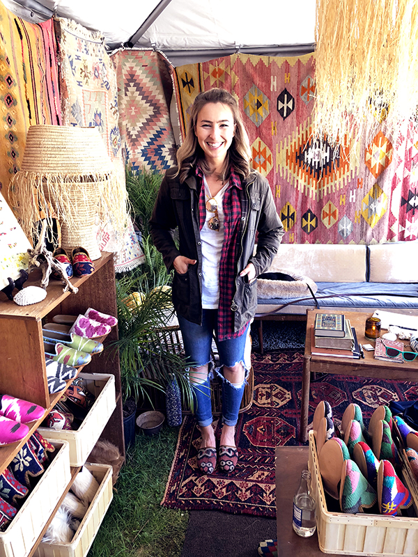 New member of the Artemis Community trying on Kilim Shoes