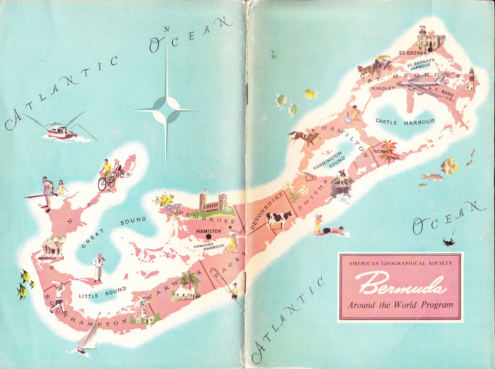 Vintage map of Bermuda under photo of our Kilim shoes.