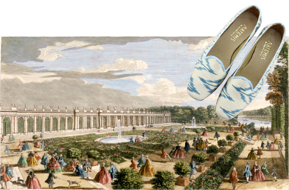 Jane Silk Loafers placed over an illustration of Versailles.