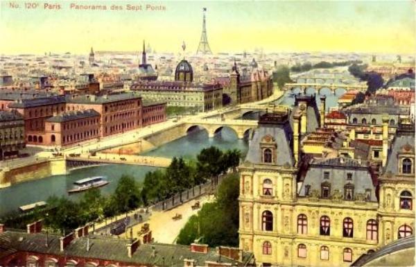 Vintage postcard of Paris next to a photo of our Kilim Shoes.