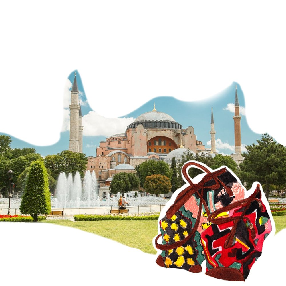 Artemis in Istanbul. The Haggia Sophia with Kilim weekenders