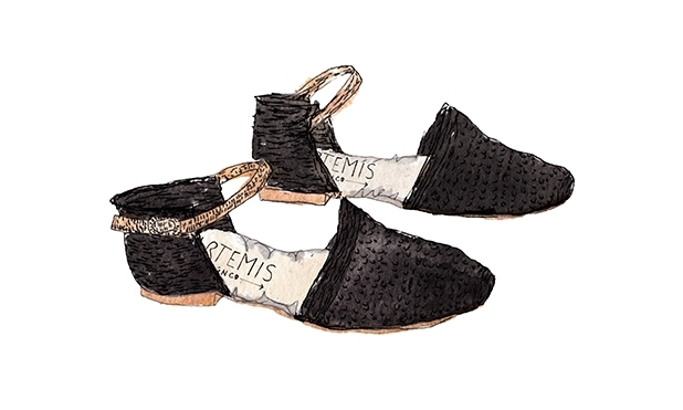 Illustration of our Raffia Orsay shoes by Pauline de roussy de sales
