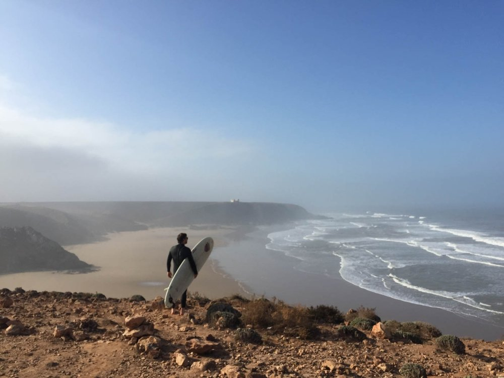 Surfing in Mirleft, Morocco, January 2016