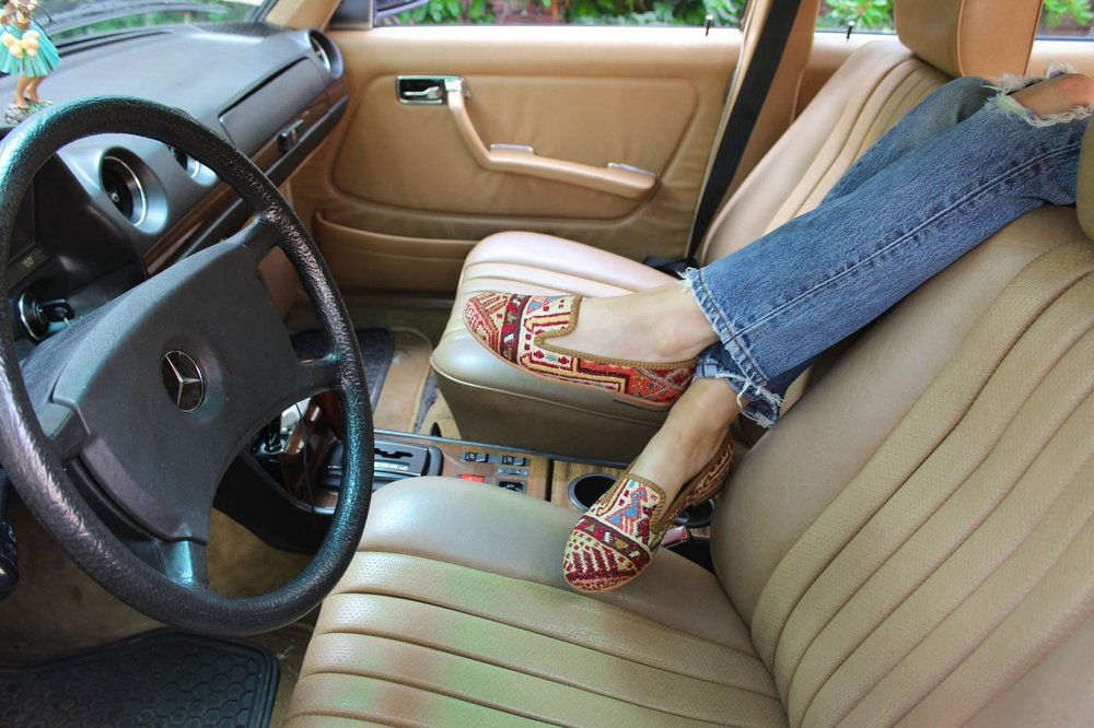 Kilim loafers in antique mercedes benz