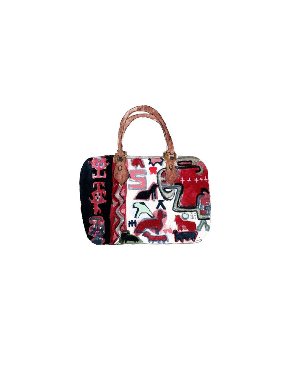 illustration of kilim duffle bag