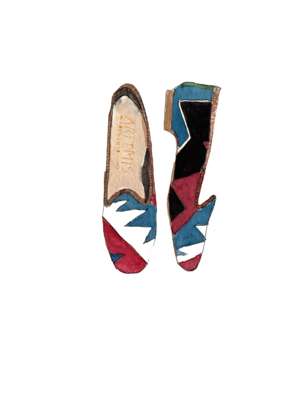 illustration of Kilim loafers