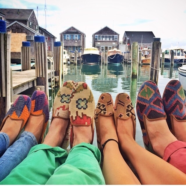 Kilim shoes on dock on Nantucket harbor