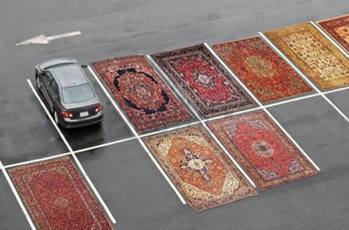 Carpets in parking lot