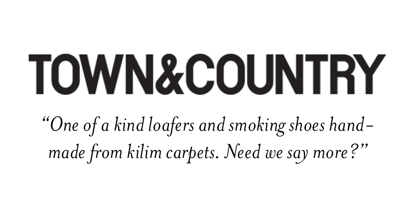 Artemis Design Co. Kilim Shoes featured in Town & Country Gift guide