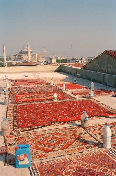 Kilim drying scene in Istanbul, Turkey