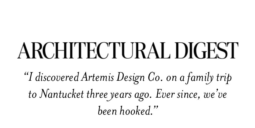 Architectural Digest on Artemis Kilim Shoes found on Nantucket
