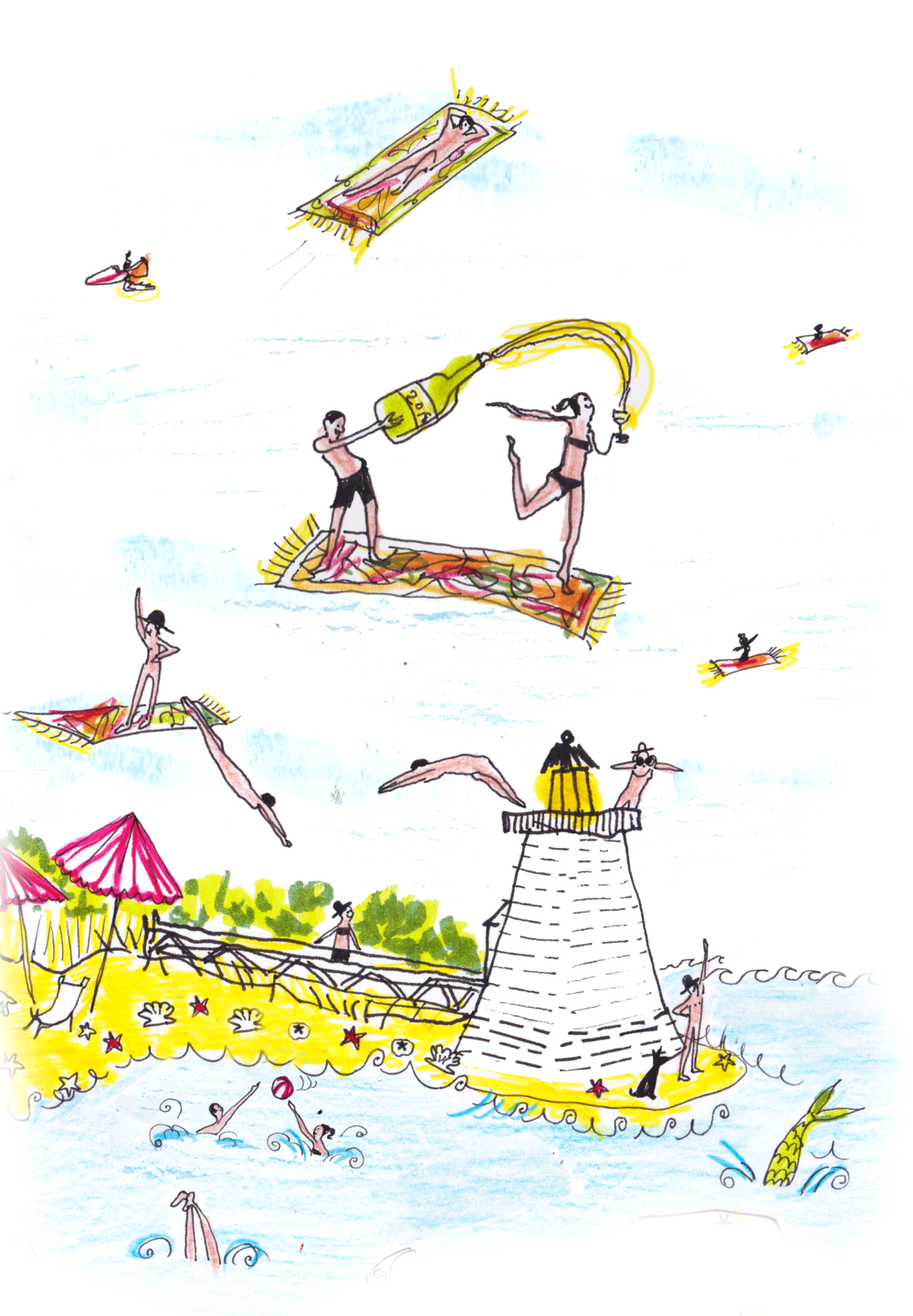 Illustration of our skinny dip scene with flying carpets and boats shaped like Kilim shoes and Kilim loafers.