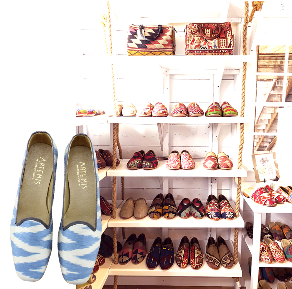 Photo of our Kilim Shoes at the Skinny Dip Nantucket.
