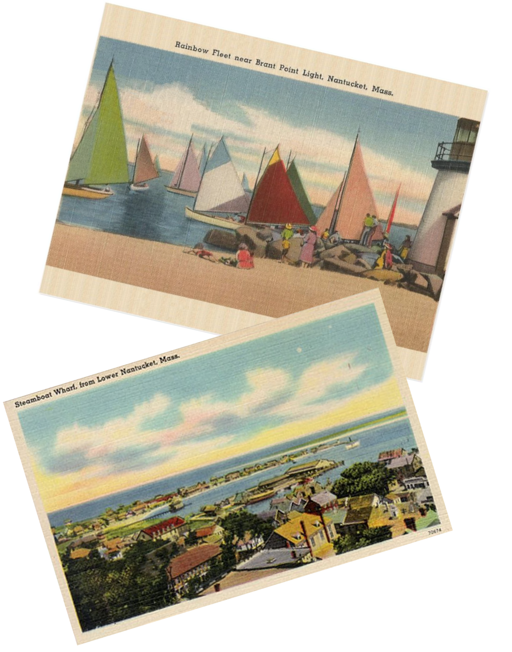 Vintage postcards of Nantucket next to an image of our Kilim shoes.