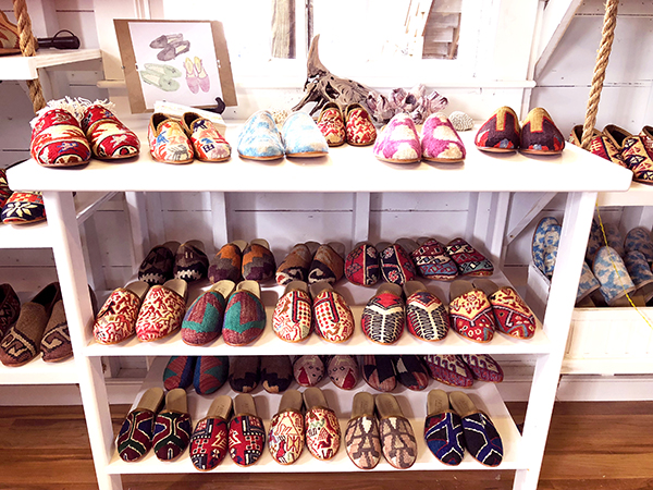 Our Kilim shoe and Kilim mule section at The Skinny Dip.