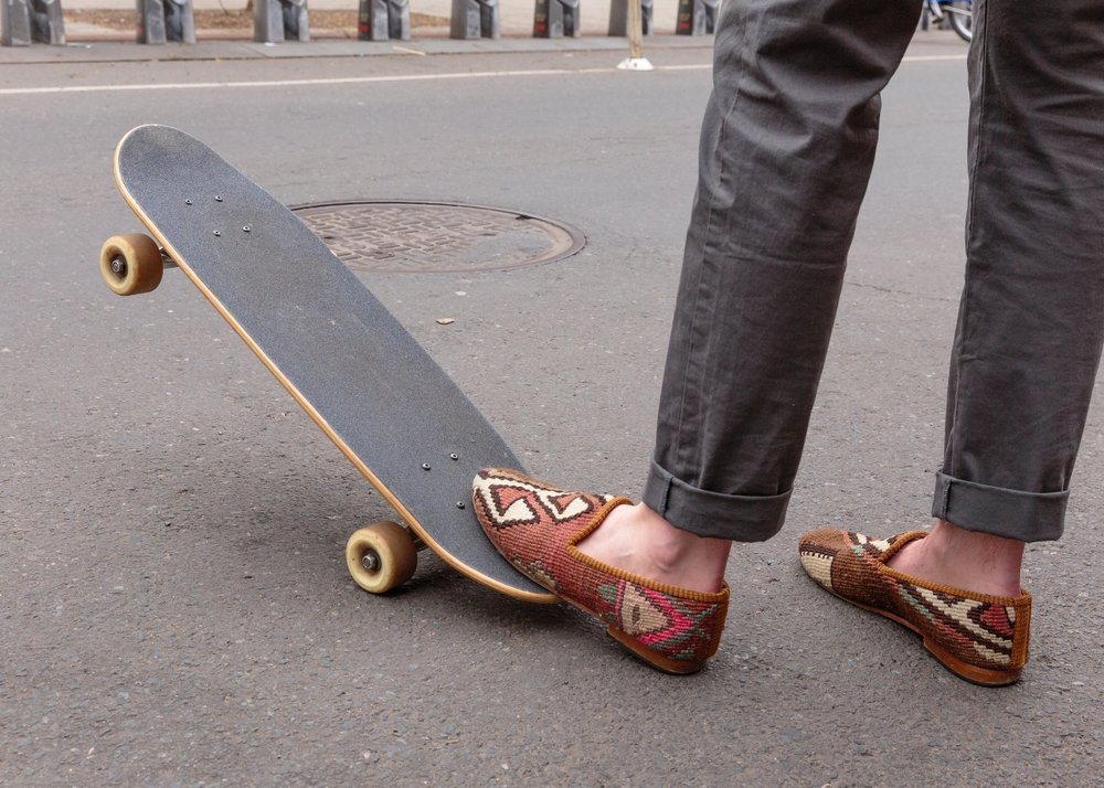 """""""The most comfortable shoes that I own, hands down""""   -Owen Sanford on our Men's Kilim Smoking Shoes"""